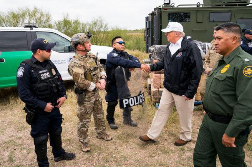 ICE and Border Patrol POLICE at the border with Mexico  Thursday  Jan. 10  2019.