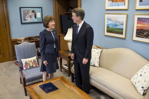Sen. Susan Collins and Brett Kavanaugh  J..jpg..Zach Gibson SLASH Getty Images..