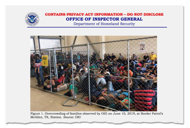 Squalor Pervasive in Detention Centers.  Report figure 1  Office of Inspector General  Department of Homeland Security  pitcure taken 06.20.19.