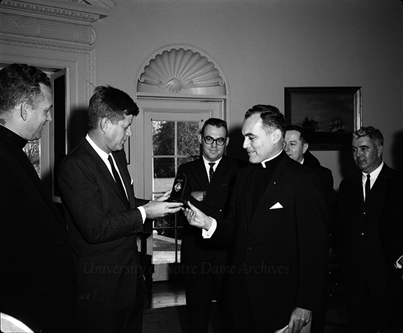 John F. Kennedy Receiving Notre Dame Laetare Medal From Theodore M. Hesburgh 1961.  Courtesy Notre Dame Archives.
