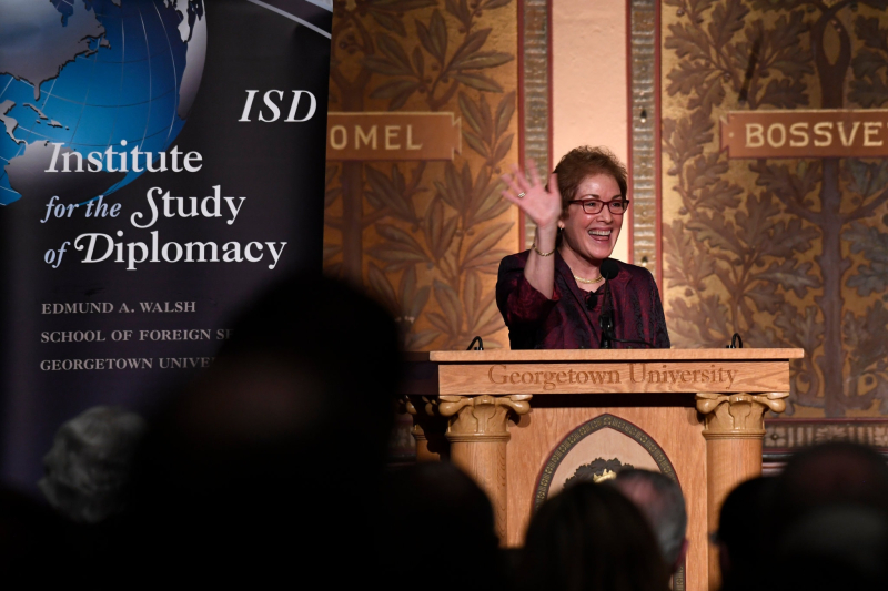 Marie Yovanovitch at Georgetown (Susan Walsh.Associated Press)