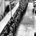 Jobless and homeless men for free Depression dinner in Winter 1932-33.  Associated Press